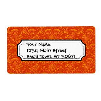 Vibrant Elegant Orange Damask Lace Girly Pattern Personalized Shipping Labels