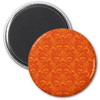 Vibrant Elegant Orange Damask Lace Girly Pattern Magnet