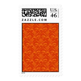 Vibrant Elegant Orange Damask Lace Girly Pattern Postage Stamps