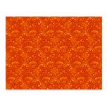 Vibrant Elegant Orange Damask Lace Girly Pattern Post Cards