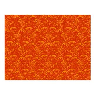 Vibrant Elegant Orange Damask Lace Girly Pattern Postcard