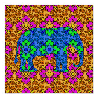 Vibrant Elephant Poster