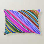 [ Thumbnail: Vibrant & Eyecatching Multicolored Stripes Pattern Accent Pillow ]