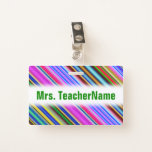 [ Thumbnail: Vibrant & Eyecatching Multicolored Stripes Pattern Badge ]