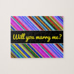 [ Thumbnail: Vibrant & Eyecatching Multicolored Stripes Pattern Jigsaw Puzzle ]