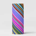 [ Thumbnail: Vibrant & Eyecatching Multicolored Stripes Pattern Pillar Candle ]