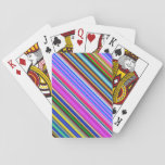 [ Thumbnail: Vibrant & Eyecatching Multicolored Stripes Pattern Playing Cards ]