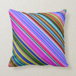 [ Thumbnail: Vibrant & Eyecatching Multicolored Stripes Pattern Throw Pillow ]