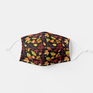 Vibrant Fall Leaves Pattern Black | Multi-Colored Cloth Face Mask