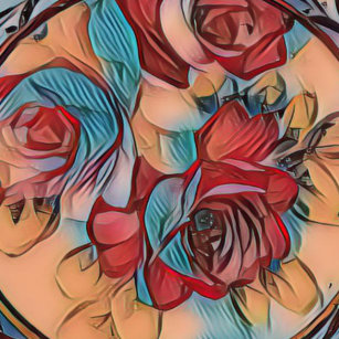 Vibrant Fall Toned Blue Red modern Rose Pattern Wham-O Frisbee 1e7773c9d2b9