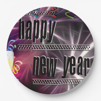 Vibrant Festive Happy New Year Celebration Paper Plate