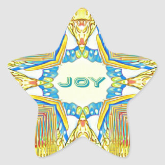"Vibrant Festive Inspirational ""JOY"" Uncommon Star Sticker"