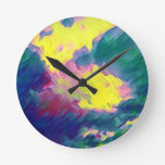 Vibrant Festive Multi-Color Abstract Pattern Round Clock