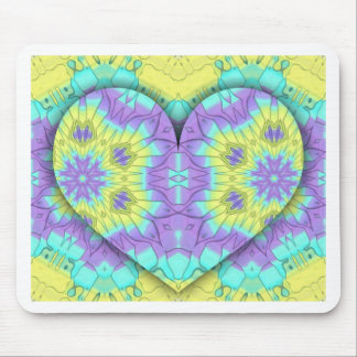 Vibrant Festive Multi+Colored  Heart Shape Mouse Pad