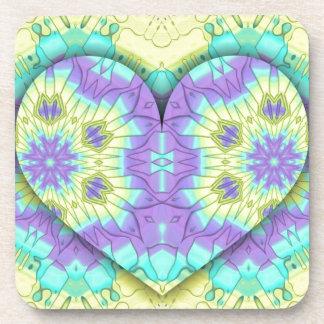 Vibrant Festive Pastel 3d Heart shaped. Drink Coaster