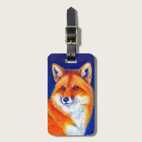 Vibrant Flame Colorful Red Fox Luggage Tag