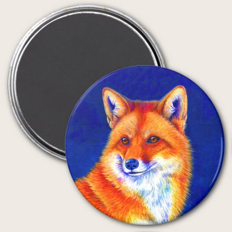 Vibrant Flame Colorful Red Fox Magnet