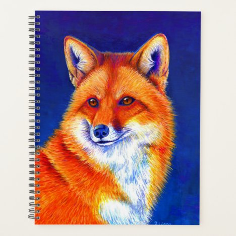 Vibrant Flame Colorful Red Fox Planner