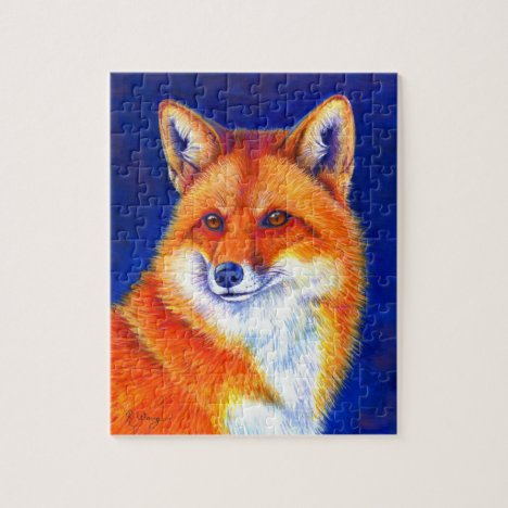 Vibrant Flame Colorful Red Fox Puzzle