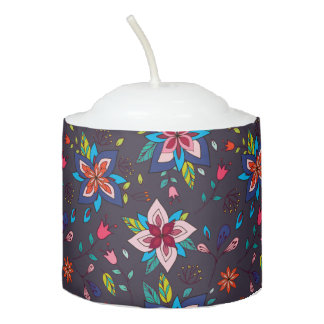 Vibrant Floral and Bird Patterns Votive Candle