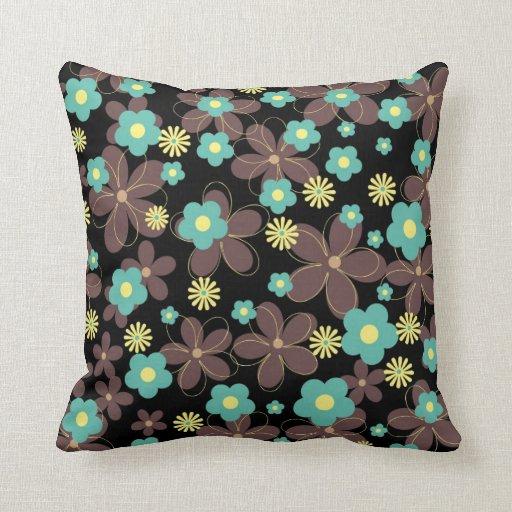 Vibrant floral design on black background throw pillows Zazzle