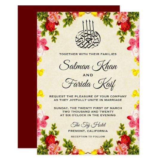 Muslim Wedding Invitation Wording: Vibrant Floral Islamic Muslim Wedding Invitation