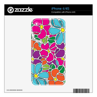 Vibrant Floral Stained Glass Decal For The iPhone 4S