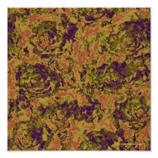 Vibrant flower camouflage pattern poster