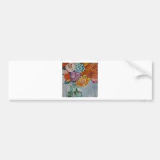Vibrant flowers car bumper sticker