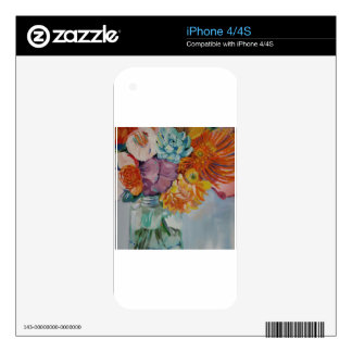Vibrant flowers iPhone 4 decal