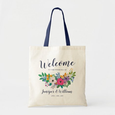 Vibrant Flowers Wedding Welcome Tote Bag