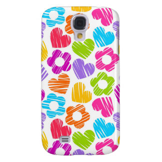 Vibrant freehand drawn flowers and hearts galaxy s4 case