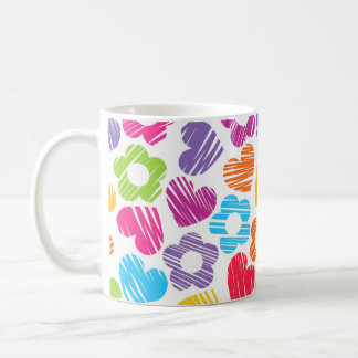Vibrant freehand drawn flowers and hearts mug