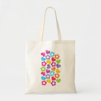 Vibrant freehand drawn flowers and hearts tote bag