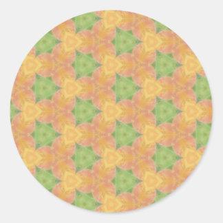 Vibrant Funky Orange Yellow Green Pattern Classic Round Sticker