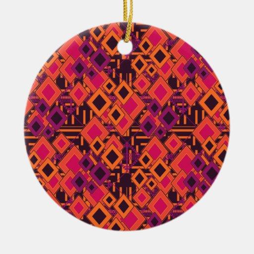 Vibrant Geometric Diamond Pattern Ornament
