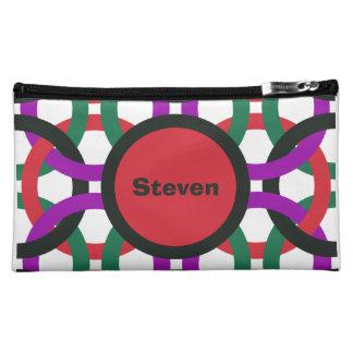Vibrant Geometric Multicolored Circles Personalize Cosmetic Bag