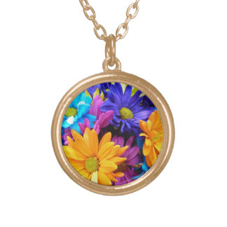 Vibrant Gerbera Daisy Bouquet Gold Plated Necklace