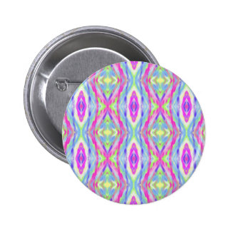 Vibrant Girly Spring Pastel Tribal Pattern Button