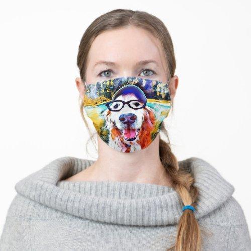 Vibrant Golden Retriever Dog in Nerd Glasses Cloth Face Mask