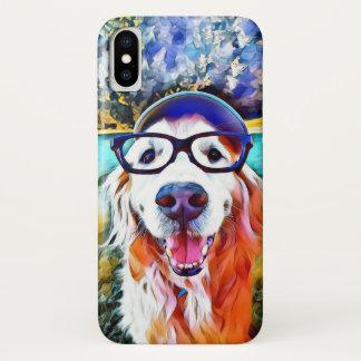 Vibrant Golden Retriever Nerd Glasses Painting iPhone X Case