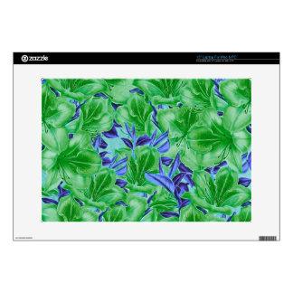 Vibrant Green Blue Vintage Flowers Laptop Skins