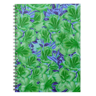 Vibrant Green Blue Vintage Flowers Notebook