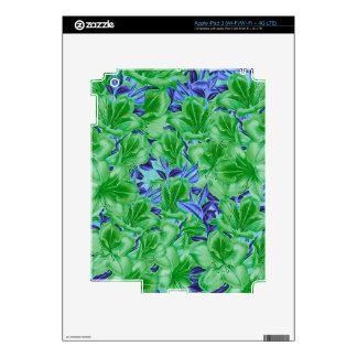Vibrant Green Blue Vintage Flowers Skins For iPad 3