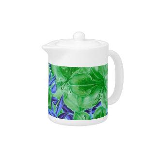 Vibrant Green Blue Vintage Flowers Teapot
