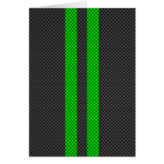 Vibrant Green Carbon Fiber Style Racing Stripes Card