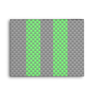 Vibrant Green Carbon Fiber Style Racing Stripes Envelope