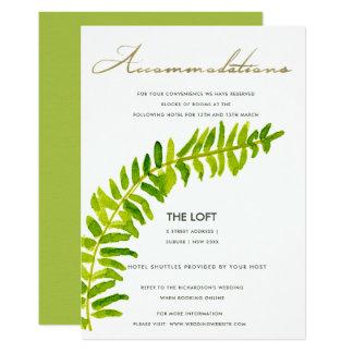 VIBRANT GREEN GOLD WATERCOLOUR FERN ACCOMMODATION CARD