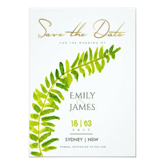 VIBRANT GREEN GOLD WATERCOLOUR FERN SAVE THE DATE CARD