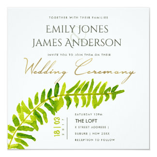 VIBRANT GREEN GOLD WATERCOLOUR FERN WEDDING CARD